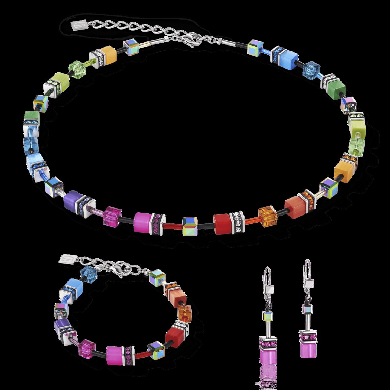 COEUR de LION sieraden set 2838 GEOCUBE multicolour, ketting, armband en oorbellen