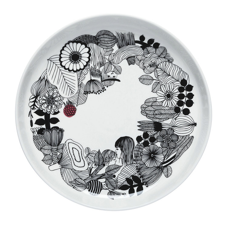 Marimekko servies Oiva schaal wit/zwart/rood 32 cm 066680-194