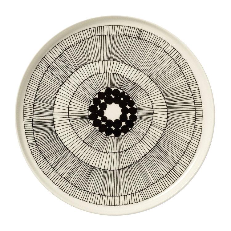 Marimekko servies Oiva groot bord wit/zwart 25 cm 063304-191