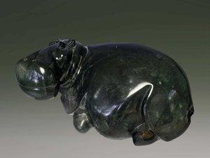 Stenen tuinbeeld uniek, Hippo, nijlpaard, abstract
