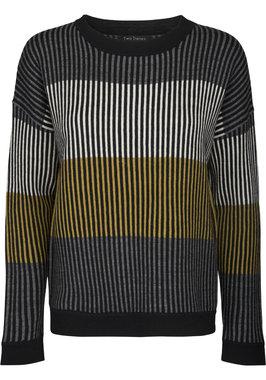 Two Danes trui Marley Sweater grijs/mosterd geel/blauw 25212-J299-205