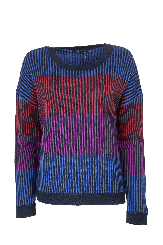 Two Danes trui Marley Sweater blauw/fuchsia/groen 25212-J274-285
