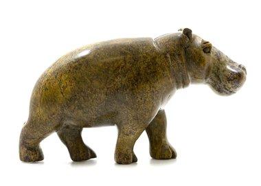 Stenen beeld nijlpaard staand 1 dier, 10 cm hoog, groen