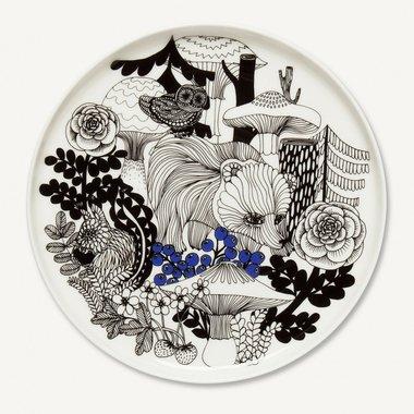Marimekko servies Oiva klein bord wit/zwart 100 years Finland 20 cm 068605-195