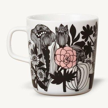 Marimekko servies Oiva beker groot wit/zwart/rose 4 dl 0674847-093