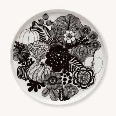 Marimekko servies Oiva klein bord wit/zwart 100 years Finland 20 cm 068422-190