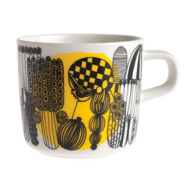 Marimekko servies Oiva koffiekop wit/zwart/geel 2 dl 063293-192