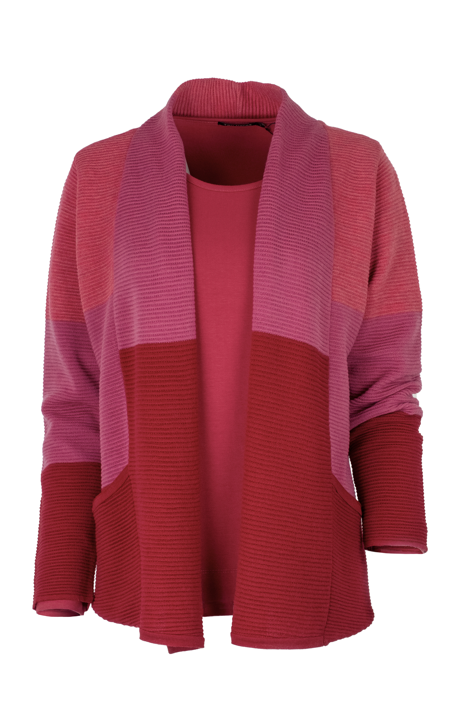 EO-design Vest kort donkerrood fuchsia lichtrood