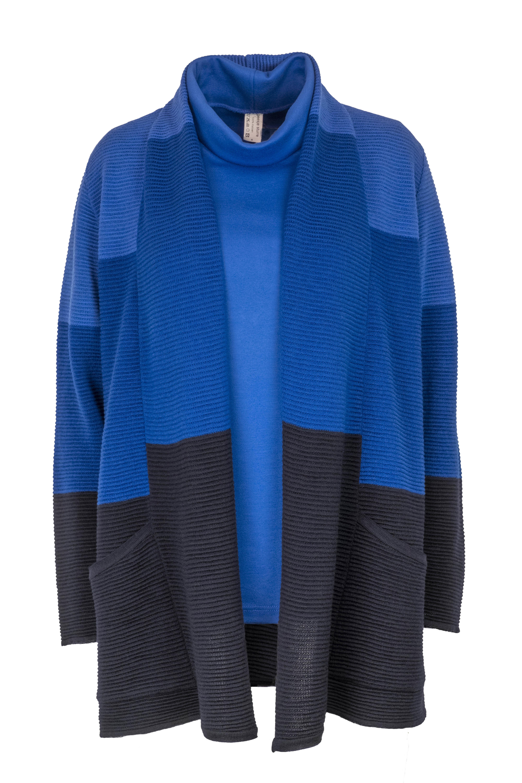 EO-design Vest lang donkerblauw kobalt blauw