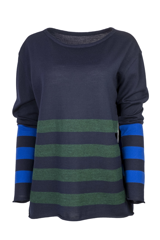 Karvinen Keskibox trui H33 donkerblauw kobalt groen