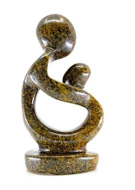 Stenen beeld moeder en kind 11 cm hoog, bruin