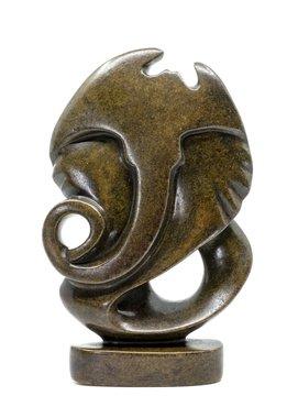 Stenen beeld olifant abstract 1 dier, 24 cm hoog, bruin