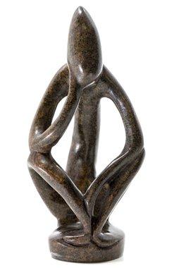 Stenen beeld denker abstract 1 persoon, 13 cm hoog, bruin