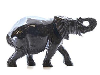Stenen beeld olifant springstone 1 dier, 8 cm hoog, zwart
