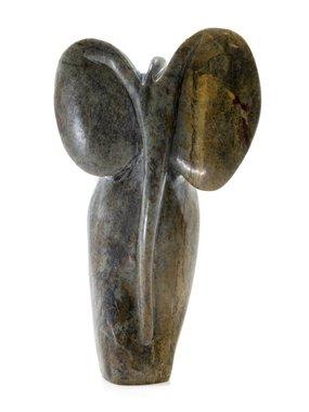 Stenen beeld olifant abstract 1 dier, 13 cm hoog, groen