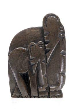 Stenen beeld olifant met baby abstract 1 dier, 13 cm hoog, bruin