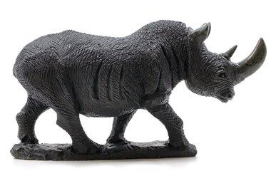 Stenen beeld neushoorn ruw 1 dier, 15 cm hoog, zwart