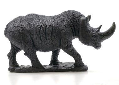 Stenen beeld neushoorn ruw 1 dier, 18 cm hoog, zwart