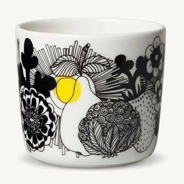 Marimekko servies Oiva koffiekop wit/zwart/geel 100 years Finland 2 dl 068439-093