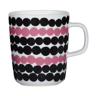 Marimekko servies Oiva beker wit/zwart/rose 2,5 dl 065829