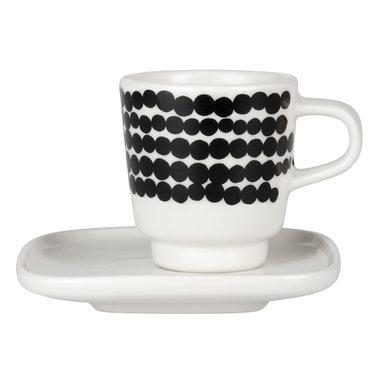 Marimekko servies Oiva espresso kop en schotel wit/zwart 065322-190