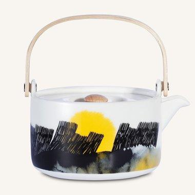 Marimekko servies Oiva theepot zwart/geel 7 dl 066015-192