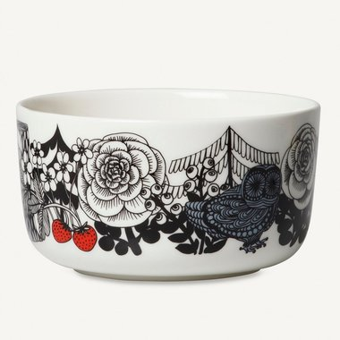 Marimekko servies Oiva kom wit/zwart/rood 100 years Finland 5 dl 068606-193