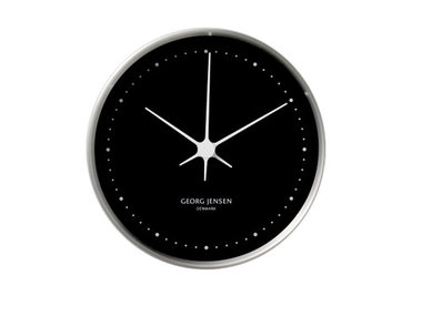 Georg Jensen klok RVS/zwart 10 cm Henning Koppel