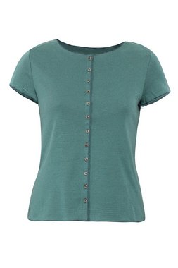 Jalfe shirt met knopen ekologisch katoen groen/blauwgroen