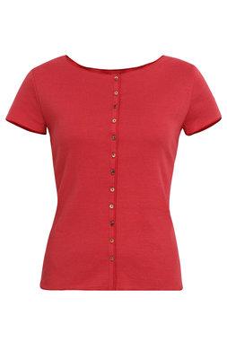 Jalfe shirt met knopen ekologisch katoen rose-oranjerood
