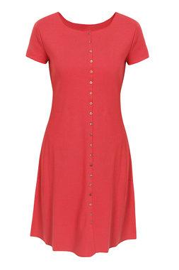 Jalfe jurk met knopen ekologisch katoen rose-oranjerood