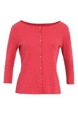 Jalfe shirt lange mouw met knopen ekologisch katoen rose-oranjerood