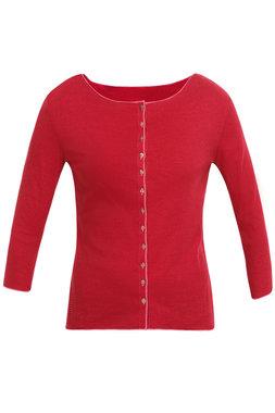 Jalfe shirt lange mouw met knopen ekologisch katoen kers-roodrose