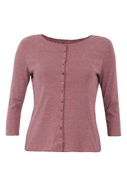 Jalfe shirt lange mouw met knopen ekologisch katoen rose-roodbordeaux
