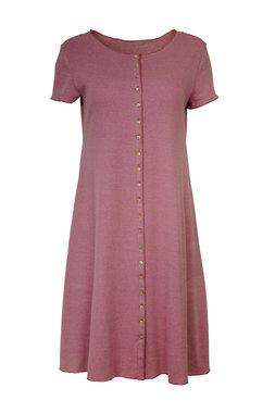 Jalfe jurk met knopen ekologisch katoen rose-roodbordeaux
