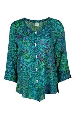 Unikat Artwear kleding blouse 134 violet paars/groen