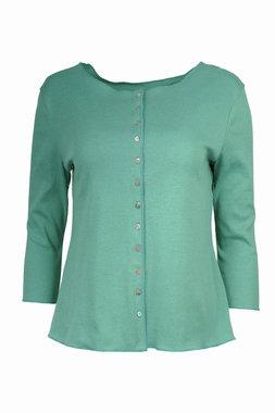 Jalfe shirt lange mouw met knopen ekologisch katoen water-groen/turqoise