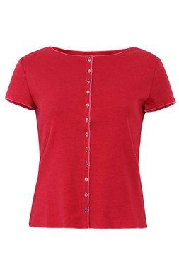Jalfe shirt met knopen ekologisch katoen kers-roodrose