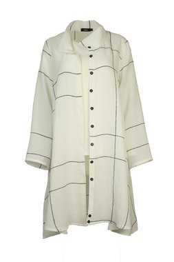 Ralston lange linnen blouse Kemal wit zwart geruit 68749