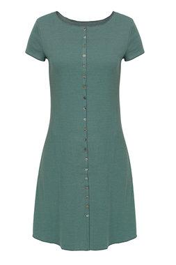 Jalfe jurk met knopen ekologisch katoen groen/blauwgroen