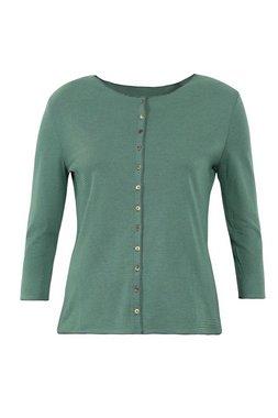 Jalfe shirt lange mouw met knopen ekologisch katoen groen-blauwgroen