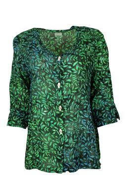 Unikat Artwear kleding blouse 122 staal blauw/groen