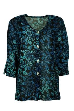Unikat Artwear kleding blouse 122 houtskool groen