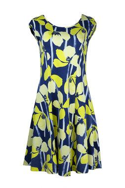 Mansted kleding Tulip jurk donkerblauw accent geel