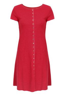 Jalfe 11858-1-422A jurk met knopen ekologisch katoen kers-roodrose