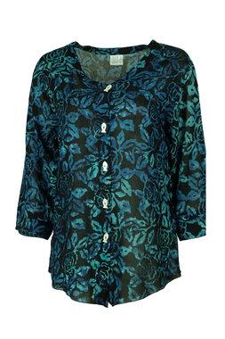 Unikat Artwear kleding blouse 134 houtskool/blauw
