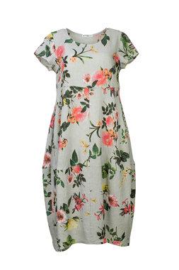 Blueberry Italia linnen jurk grijs 9088-46