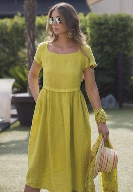 Blueberry Italia linnen jurk lime 9059