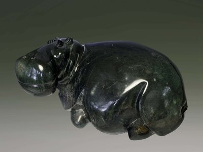 Stenen tuinbeeld uniek dier, Hippo, nijlpaard, abstract