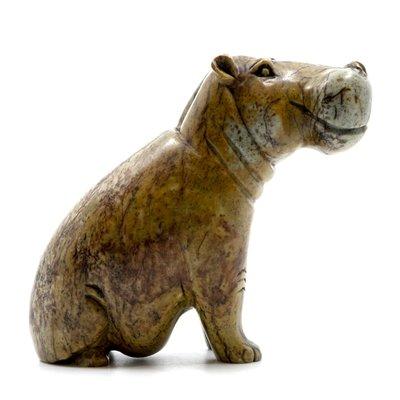 Stenen beeld nijlpaard staand 1 dier, 14 cm hoog, bruin